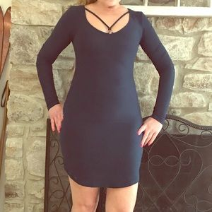 Planet Gold Blue Fitted Jersey Knit Dress Size S